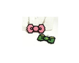 Pink & Green Bows, Brick Stitch Beading Patterns, DIGITAL DOWNLOAD