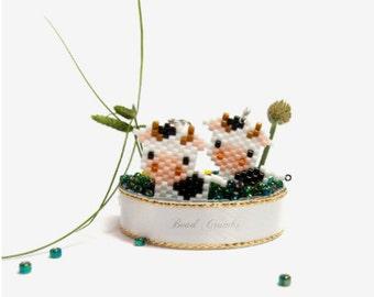 Cow Charm Bead PATTERN, Miyuki Seed Beads   Digital File