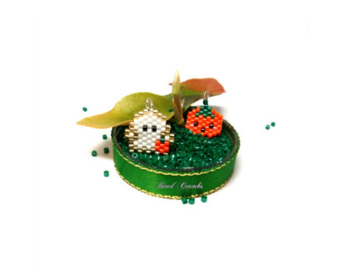 Mini Ghost & Pumpkin Halloween Charms / Pendant / Earring Bead PATTERNS | Digital File