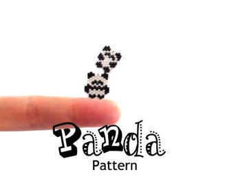 Mini Panda Set, Peyote or Brick Stitch Beading Patterns, Cute Animal Charms