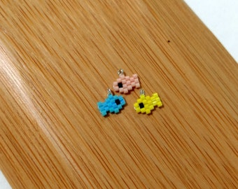 Micro Fish Seed Bead Charms - Brick Stitch - DIY Jewelry