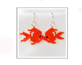 Goldfish Design Pattern, Peyote Brick Stitch Bead Jewelry | Digital Download