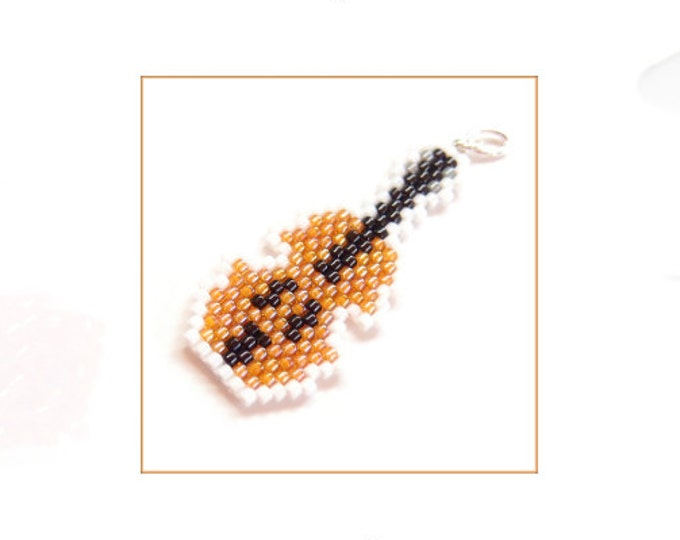 Violin Brick Stitch Bead Weaving Pattern, Musical Instrument Charm - Earring - Pendant