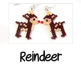 Reindeer Christmas Design Pattern, Peyote / Brick Stitch Beading | Digital Download