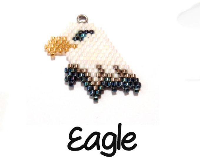 Bald Eagle Seed Bead Pattern, Brick Stitch, Patriotic Charm Jewelry   Digital Download