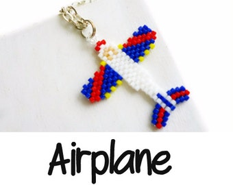 Seed Bead PATTERN - Airplane, Peyote or Brick Stitch, Bead Weaving Jewelry, Red - White - Blue