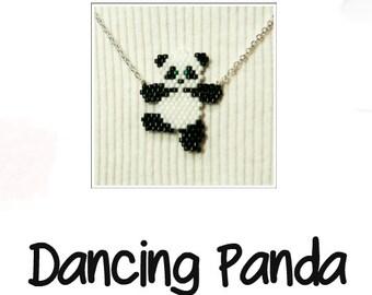 Dancing Panda Brick Stitch Bead PATTERN -  Chart & Legend, Delica Seed Beads