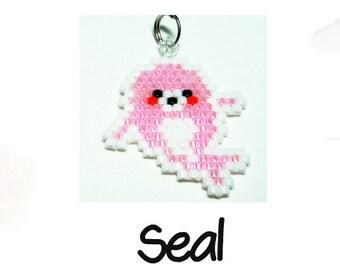 Seal Beading Pattern - Charm / Pendant Jewelry, Brick Stitch Bead Weaving, Seed Bead Animal Pattern