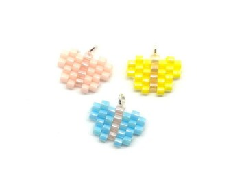 Micro Butterfly Seed Bead Charms/Pendant (3 pieces)