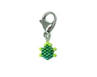 Mini Turtle Charm - for pendant, lanyard, purse, planners - Miyuki Delica brick stitch beading