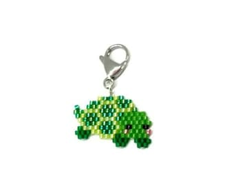 Turtle Charm - for progress keepers, planner, purse, lanyards, keyrings - Miyuki Delica seed beads, brick stitch