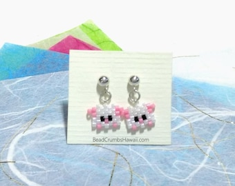 Miniature Pig Seed Bead Drop Earrings Sterling Silver Post, 2019 Chinese New Year