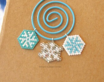 Micro Snowflake Seed Bead Charm - Choose Your Color, One Piece