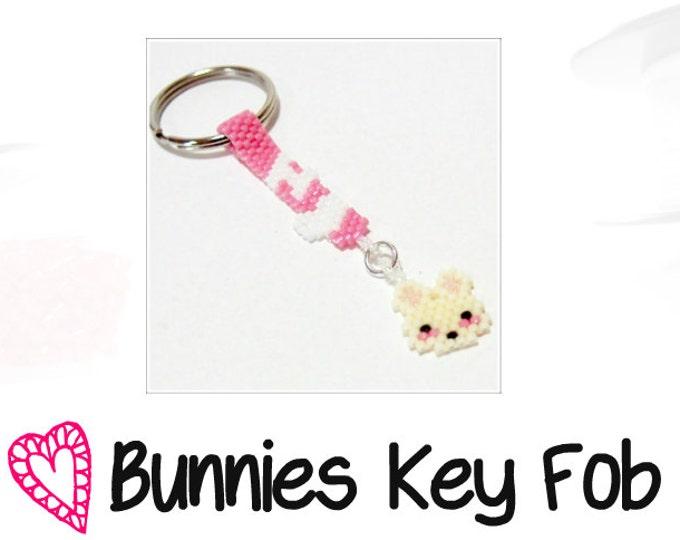 Cute Bunny Rabbit Bead Pattern, Key Fob Keychain | PDF DOWNLOAD