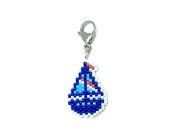 Sailboat Charm - for keyring, bag, progress keeper, stitch marker - nautical theme - Miyuki Delica seed beads, brick stitch