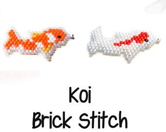 Japanese Carp Beading Patterns, Koi Fish Bead Weaving, Jewelry Making Charms - Pendants - Earrings