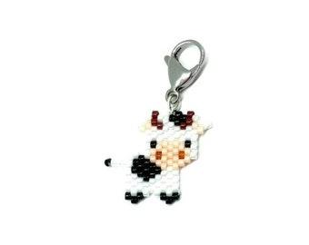 Cow Charm - for planner, purse, lanyard badge, progress keeper - Miyuki Delica seed beads, brick stitch