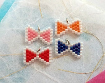 Seed Bead Bow Charms - Red Blue Pink Orange - 4 Piece Set