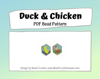 Brick Stitch Bead Patterns: Duck and Chicken, Farm Animals Charms, PDF Digital Download
