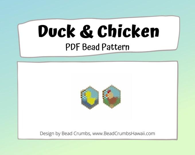 Brick Stitch Bead Patterns: Duck and Chicken, Farm Animals Charms, PDF Digital Download