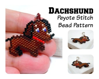 Dachshund Brick Stitch Bead PATTERN | DIGITAL FILE