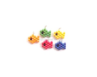 5pc Assorted Colors Mini Fish Charms, Seed Bead Pendants, Cute Sea Animal Accessory
