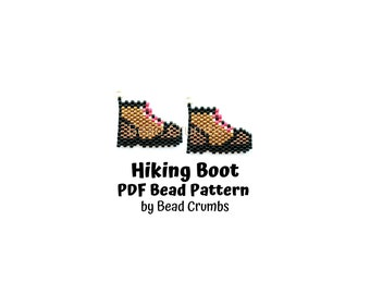 Brick Stitch Charm Pattern Hiking Boots, Miyuki Delica Beads, PDF Digital Download
