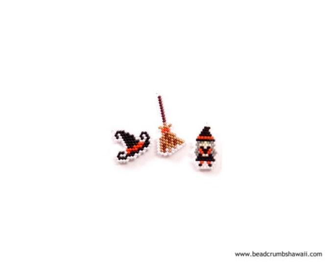 Brick Stitch Witch, Witch Hat & Broom, Bead Pattern Set | Printable Digital Download