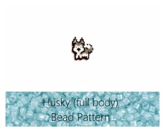 Husky Pattern (full body), Miyuki Delica Beads Brick Stitch Beading Pattern | Printable Digital Download