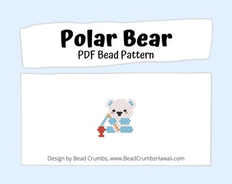 Brick Stitch Bead PATTERN, Polar Bear Animal Charm Earring Jewelry,  PDF Digital Download
