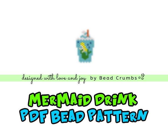 Brick Stitch Bead Pattern: Mermaid Drink Charm, PDF Digital Download