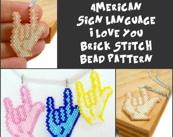 I Love You - American Sign Language Charm/Pendant, Beading PATTERN
