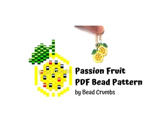Beading PATTERN Brick Stitch Passion Fruit, Yellow Lilikoi Fruit, DIY Seed Bead Charm, PDF Digital Download