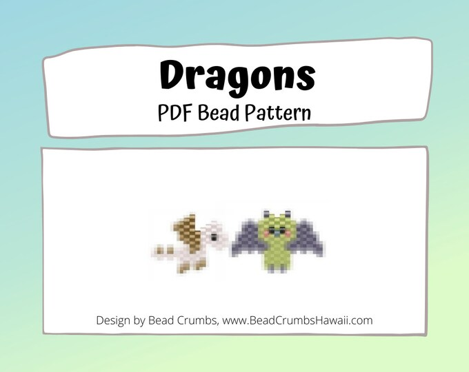 Dragon Patterns, Brick Stitch Fantasy Creature, Miyuki Delica Seed Beads, PDF Digital Download
