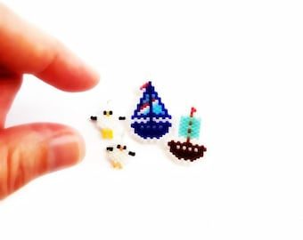 Sailboats & Seagulls Brick Stitch Beading PATTERNS | Printable Digital Download