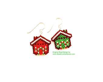 Beaded Christmas Gingerbread House Earring Charms, Sterling Silver French Ear Wire, Miyuki Brick Stitch Beading