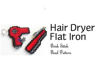 Hair Dryer & Flat Iron Brick Stitch Bead Patterns | DIGITAL DOWNLOAD