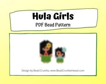Bead Pattern Hula Girls, Peyote or Brick Stitch Beading, Miyuki Delica Charms - Digital Download
