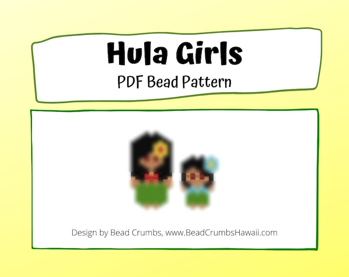 Bead Pattern Hula Girls, Peyote or Brick Stitch Beading, Miyuki Delica Charms - Digital Download
