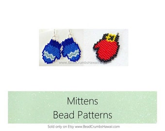 Mittens Beading Patterns, Delica Seed Bead Jewelry | DIGITAL DOWNLOAD