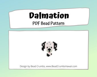 Dalmatian Dog Brick Stitch Seed Bead Animal PATTERN, Digital Download