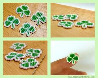St Patricks Day Green Shamrock Charm / Pendant, Miyuki Seed Beads (1 piece)