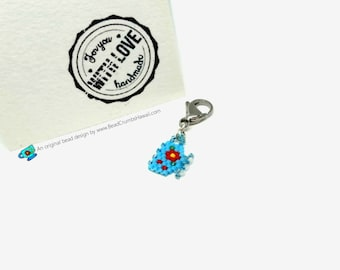 Mini Tea Cup Charm - for purse, planners, progress keepers, lanyards, keyrings - Miyuki Delica seed beads, brick stitch
