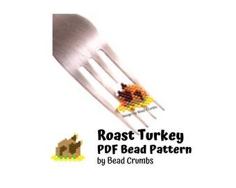 Thanksgiving Roast Turkey Pattern, Brick or Peyote Stitch Charm