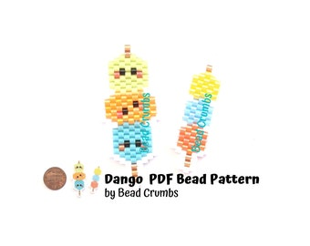 Brick Stitch Bead Pattern, Dango Sweet Japanese Dumpling, Kawaii Food Charm, PDF Digital Download