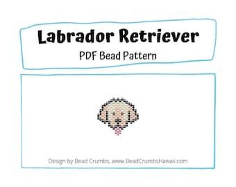 Brick Stitch Charm Pattern Labrador Retriever Dog, Miyuki Delica Beads, PDF Digital Download