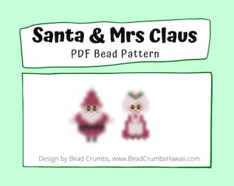Santa and Mrs. Claus Bead Pattern, Peyote or Brick Stitch Beading, DIY Miyuki Charms - Digital Download