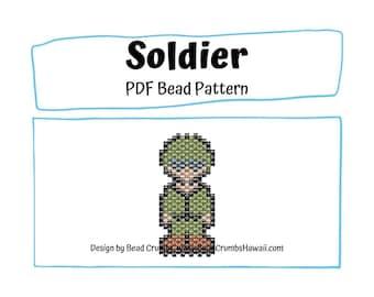 Soldier Bead PATTERN, Brick Stitch Peyote Stitch Charm, PDF Digital Download