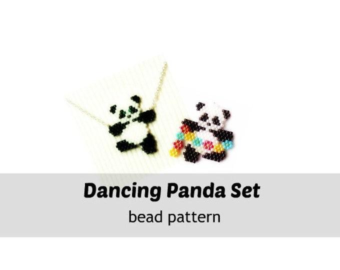 Beading Patterns - Dancing Panda Set, Brick Stitch Bead Weaving