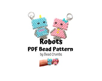 Robots Brick Stitch Bead Pattern, PDF Digital Download